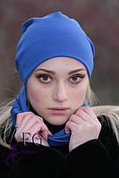 Женская ШАПКА + ШАРФ набор! демисезон, из двойного трикотажа / женская модная шапка с шарфиком, 2017, электрик