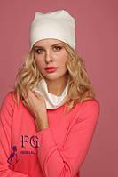 Женская ШАПКА + ШАРФ набор! демисезон, из двойного трикотажа / женская модная шапка с шарфиком, белая