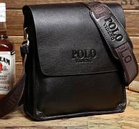 Шикарная мужская сумка через плече Polo Videng Коричневая