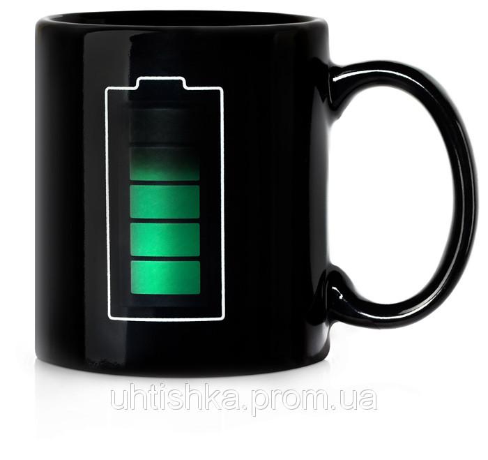 Чашка хамелеон Заряд батареи черная