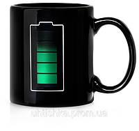 Чашка хамелеон Заряд батареи черная, фото 1