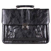 Деловая мужская сумка-портфель из искусственной кожи черный