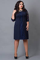 Нарядное платье 505-4 с кружевом тем синее  52 54 56 58