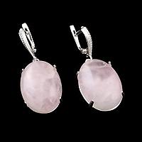 Розовый кварц, серебро 925, серьги, 073СРР