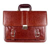 Деловой мужской портфель из искусственной кожи коричневый