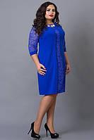 Нарядное платье 505-11 с кружевом електрик  (58-60), фото 1