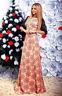 """Элегантное длинное вечернее платье 127 """"Креп Цветы Гипюр Макси"""""""