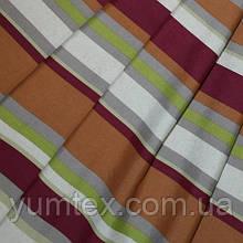Декоративная ткань полоска Чарли, цвет бордо, коричневый, серый, салатовый
