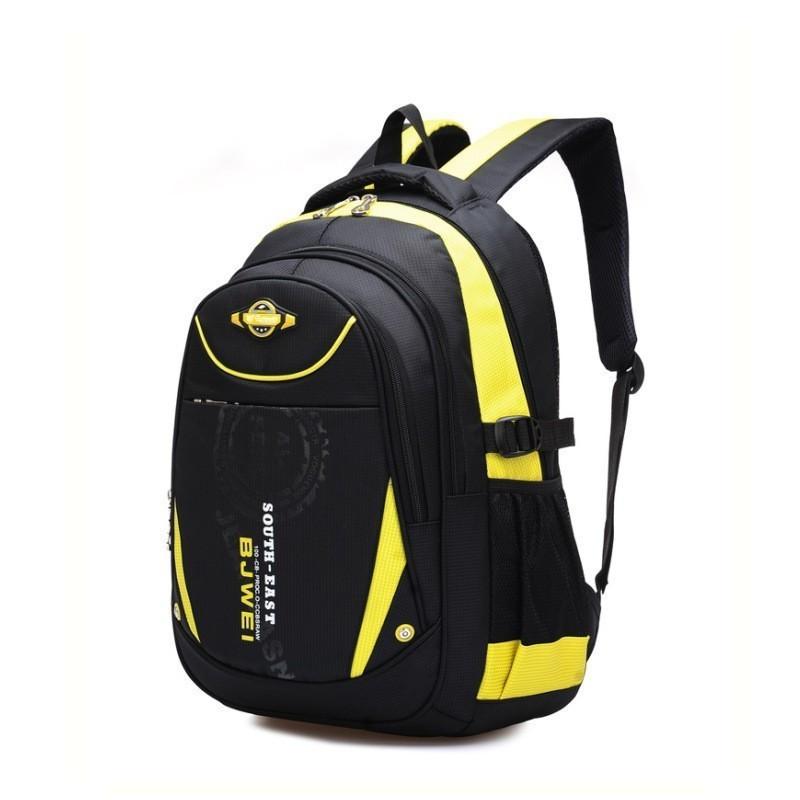 Школьный ортопедический рюкзак 4-12 класс (+набор ручек за 1 грн) черный с желтым