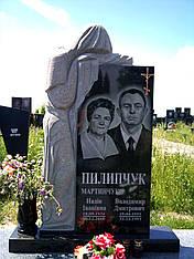 Памятник гранитный на двоих со скорбящей