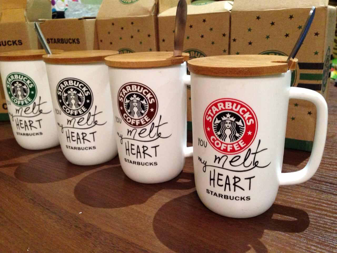 Керамический стакан Чашка Starbucks с ложкой  300 мл  Акция !!!