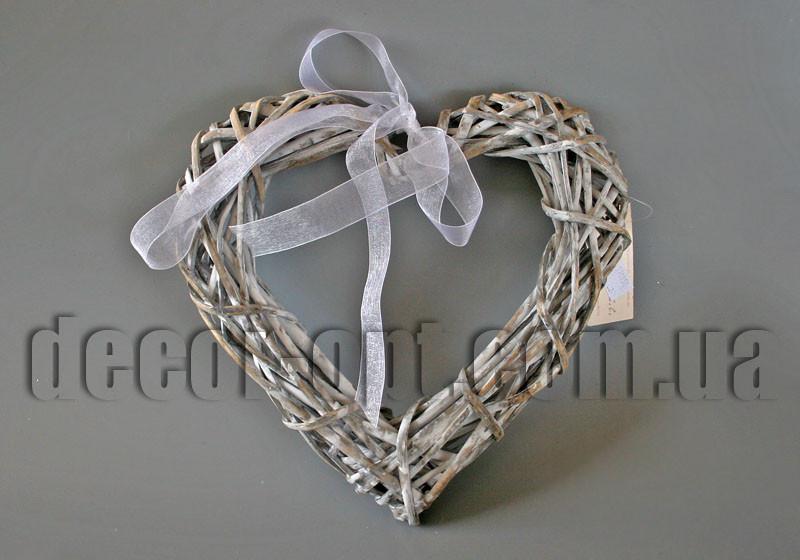 Сердце серое из ротанга 25см W6SP25-JS