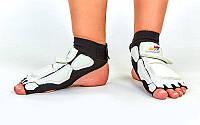 Защита стопы носки-футы для тхэквондо WTF BO-4461-W (PU, р-р S-XL (33-40), l-19,5-27см, белая)
