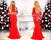 """Элегантное длинное вечернее платье 119 """"Креп Годе Бант Цветы"""""""