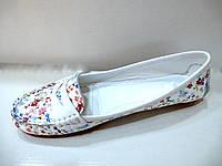 Мокасины женские в цветочек, фото 1