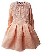 Платье Бомба гипюр подросток р.146-164 персик