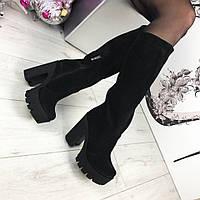 Женские сапоги зимние, замшевые,  высокие 38 см, черные /  сапоги  женские на тракторном каблуке, модные