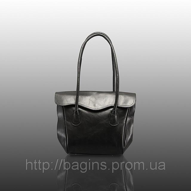 86c56486f51e Черная кожаная женская сумка в классическом стиле с клапаном V-293 ...