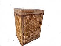 Плетенная квадратная корзина для белья