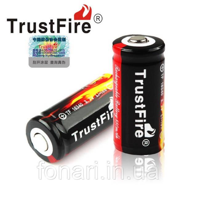 Аккумулятор TrustFire 16340(RCR123) Li-Ion 880 mAh 3,7V защищенный