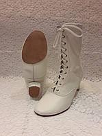 Сапожки народные белые на шнурках с раздельной подошвой