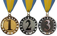 Медаль спортивна STROKE d-6,5 см C-4330 місце 1-золото, 2-срібло, 3-бронза (метал, 44g, на стрічці)