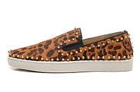 Леопардовые мокасины Christian Louboutin с шипами