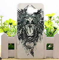 Силиконовый чехол бампер для Samsung Galaxy J5 Prime G570 с картинкой Оскал льва