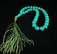 Четки из зеленой бирюзы, шар 12мм