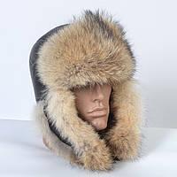 Мужская кожаная шапка-ушанка из меха американского енота (код 29-603)