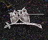 Брошь Две совы с россыпью циркония, родированная, фото 7