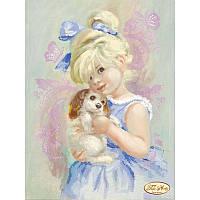 Схема для вышивания бисером Tela Artis Девочка с собачкой ТА-088