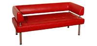 Офисный диван из кожзама Тетра 7 с подлокотниками (1580*680 h750)