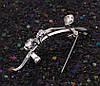 Брошь  Мотылек на ветке с россыпью циркония, родированная, фото 6