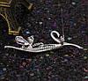 Брошь  Мотылек на ветке с россыпью циркония, родированная, фото 7