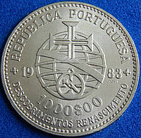 Серебряная монета Португалии 1000 эскудо. 1983 год.