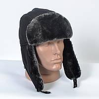 Теплая мужская шапка-ушанка с искусственным мехом (код 29-606)