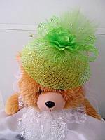 Шляпка-вуалетка детская (салатовая)