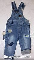 Теплый джинсовый комбинезон для мальчика 1,2,3 года