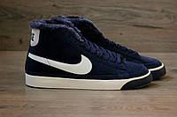 Зимние кроссовки Nike Blazer High Winter blue с мехом