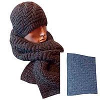 Вязаный шарф - петля темно - серого , цвета объемной ручной вязки
