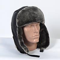 Теплая мужская шапка-ушанка с искусственным мехом (код 29-607)