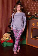 Пижама женская клетка розовые штаны