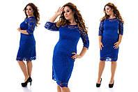 Нарядное и очень красивое гипюровое платье большого размера 50-54  короткое до колена электрик