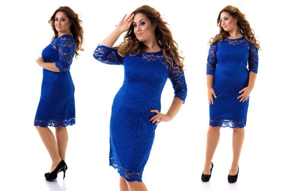 b3ec94d4baf1edb Нарядное и очень красивое гипюровое платье большого размера 50-54 короткое  до колена электрик -