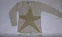"""Нарядный свитер-туника на девочку, вязаный """"Звезда""""."""