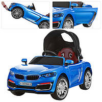 Детский электромобиль M 3262 EBLR-4 BMW, Съемная крыша и кожаное сиденье - мягкие колеса
