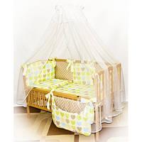 Cпальный комплект в детскую кроватку с защитой и балдахином 60х120 Сердце+горох хлопок ТМ Медисон Украина