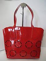 Сумка с перфорацией из натуральной кожи Farfalla Rosso красная сумка в сумке