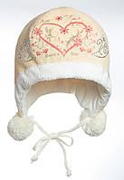"""Теплая шапочка для девочки бежевого цвета """"Герда"""""""